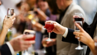 People celebrating at a holiday party