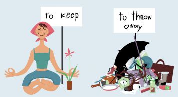"""Happy woman sitting in meditation pose under """"to keep"""" sign, next to a pile of clutter under """"to throw away"""" sign"""